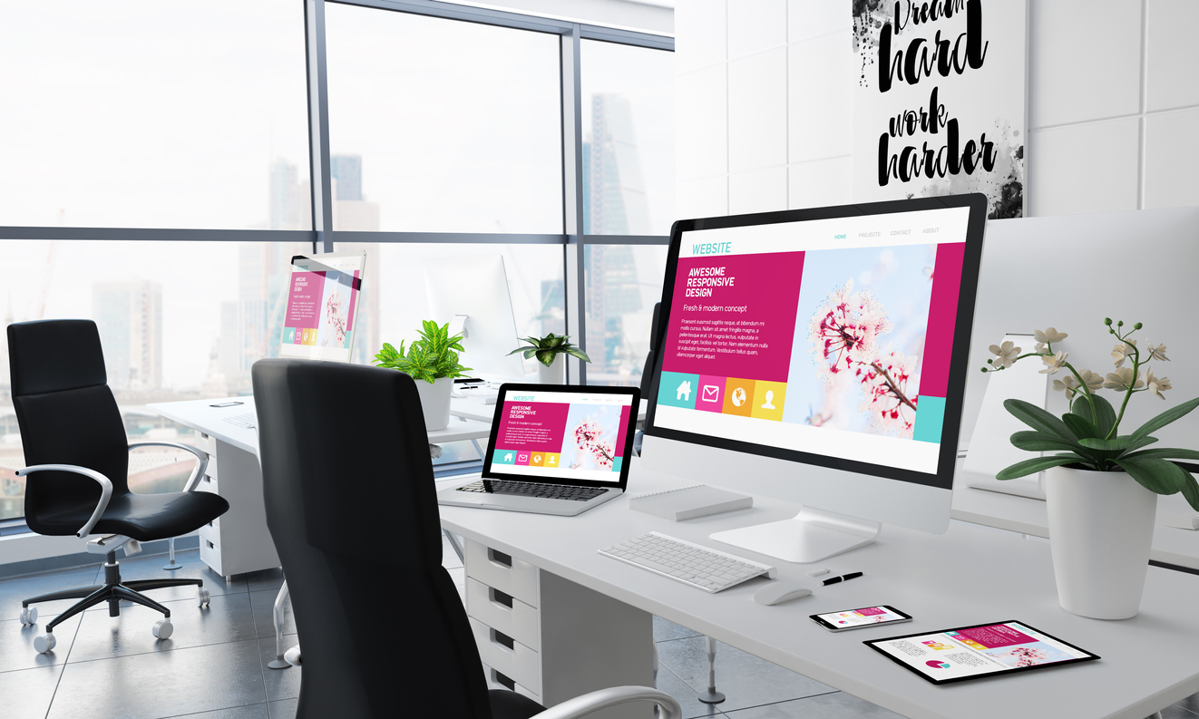 office desktop 3d rendering with awesome responsive website design on screen